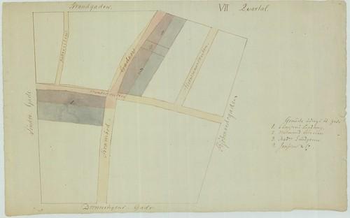 Reguleringsplan etter bybrannen i Trondhjem 1841 - Kvartal VII (Skisse)