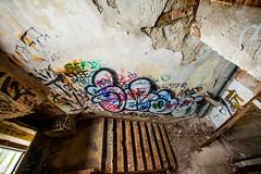 You Could Show Me Where It Is (Thomas Hawk) Tags: corktown detroit mcs michigan michigancentraldepot michigancentralstation usa unitedstates unitedstatesofamerica abandoned graffiti stairs stairway fav10 fav25