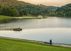 Summer Evening Fishing (jmhutnik) Tags: fishing lake gazebo trees bench nitro westvirginia ridenourpark dusk september evening grass pier
