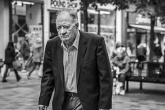 A Degree of Tiredness (Leanne Boulton (Away)) Tags: portrait urban street candid portraiture streetphotography candidstreetphotography candidportrait streetportrait eyecontact candideyecontact streetlife old man male face eyes expression mood feeling atmosphere tired tiredness tone texture detail depthoffield bokeh naturallight outdoor light shade weary city scene human life living humanity society culture lifestyle people canon canon5dmkiii 70mm ef2470mmf28liiusm black white blackwhite bw mono blackandwhite monochrome glasgow scotland uk