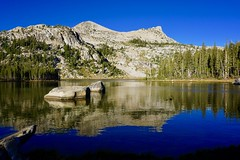 Elizabeth Lake, with Unicorn Peak (right) and Mount Althuski, reflected in its waters... (Curiously Captivating Creatures) Tags: elizabeth lake trail yosemite national park unicorn peak mount althuski water reflection california