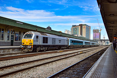 67029 + 82307 - Cardiff Central - 09/08/18. (TRphotography04) Tags: silver db cargo uk 67029 diamond jubilee stands cardiff central with arriva trains wales dvt 82307 helm working 1w96 1716 holyhead