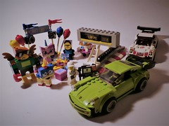 Last Day of Summer Vacation Build... (jgg3210) Tags: lego porsche speed champions minifigures 911 turbo rsr 918 spyder sports cars exotic 41453 party time unikitty puppycorn hawkodile master frown 75888 75910