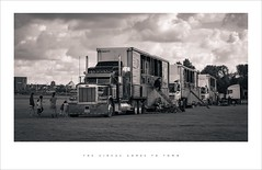 The circus comes to town (Parallax Corporation) Tags: sonya7rii sonyfe85f18 blackwhite monochrome circus wagon transport trailor travelling parked southport seaside
