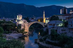 Mostar and the old bridge (Luis Ascenso) Tags: bosnia mostar herzegovina old unesco dawn blue