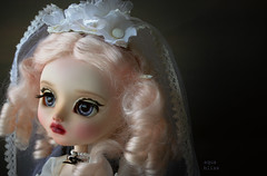 Let me stare into the void forever... (The Migratory Dreamery) Tags: pullip custompullip ooakdoll karolinfelix mohairwig rewigged rechipped azonepureneemo bride vintage old tale wedding pullipeternia junplanning groove doll dollportrait dollphotography closeup