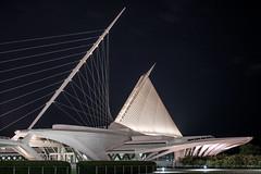 Milwaukee Art Museum (Fret Spider) Tags: mam mke milwaukeeartmuseum milwaukee architecture sky clouds night manual ze sonya7rii mirrorless otus otus1455 otus1455ze distagonotus5514ze zeiss wisconsin building bridge downtown suspension stars trace
