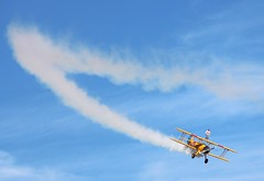 Flying into Monday like... (fremily) Tags: plane fly wing wingwalking sky blue amazing smoke brave