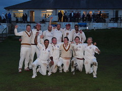 Marsden CC 1st XI celebrate promotion to the Huddersfield and District Cricket League Championship Division at Hemplow. (kyliepics) Tags: olympus e520 evolt520 olympuszuikodigital1122mmf2835 metzmecablitz36af5flash addedtogroups