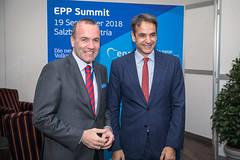 EPP Summit, Salzburg, 19 September 2018 (More pictures and videos: connect@epp.eu) Tags: manfred weber epp group chairman kyriakos mitsotakis greece summit european people party salzburg austria september 2018