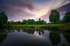Sunset by the golf field / Coucher de soleil sur le terrain de golf (tad888) Tags: coucher soleil sunset golf field terrain lac lake reflect reflexion