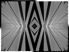 """A Modesty Ablaze (Hanzlers Warped Visions) Tags: monochrome blackwhite modestyblaise 1960s trippy psychedelic """"mindaltering"""" kaleidoscopic kaleidoscope abstract abstraction art modern london metal manufactured construct made geometry angular sharp edgeded"""