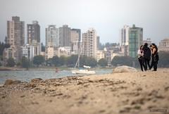 Girls On The Beach (Clayton Perry Photoworks) Tags: vancouver bc canada summer kitsbeach kitsilano beach skyline explorebc explorecanada smoke forestfires