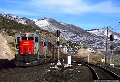 Coal Train on the Mountain (jamesbelmont) Tags: railroad railway train utahrailway coal gilluly utah soldiersummit riogrande drgw unittrain spanishforkcanyon emd sd40 grs generalrailwaysignal