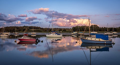 Evening on the Deben (cliveg004) Tags: woodbridge suffolk riverdeben river estuary tidal sunset evening boats reflections clouds landscape waterscape