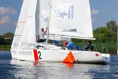 KRYC CUP 2014-4352 (amprophoto) Tags: sail sailing sailingyacht sailboat yachtrace regatta water wind white blue beneteau platu25 peoples sky sport spinnaker fun smile