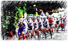 Team Sky Tour of Britain in a contemporary art form (Livesurfcams) Tags: ovoenergy teamsky tourofbritain devon fuji fujifilm art landkey abstract scottbikes cubebikes wiggins from thomas riders peloton