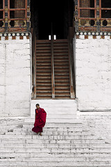 Monk Descending Stairs (William J H Leonard) Tags: thimphu bhutan bhutanese southasia southasian summer sunny travel travelphotography travelling tashichhodzong buddhist buddhism buddhisttemple buddhistmonk buddhistmonks monk architecture asianarchitecture people portrait portraiture portraits building