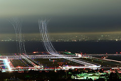 Flew into the Night Clouds (milton sun) Tags: lighttrails sanfranciscointernationalairport millbrae sanfrancisco lowfog foginsf cityscape longexposure dusk seascape bay ngc bayarea wave ocean shore seaside coast california landscape outdoor clouds sky water nightphotography nightscene traffictrails traillights