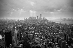 New York (Christian Sesseng) Tags: nyc newyork empirestatebuilding oneworldtradecenter skyline bw blackandwhite blackwhite cloudy sunrays overcast skyscraper city building sky sea