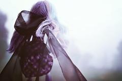 Hollow Me (GothGeekBasterd) Tags: river styxx haunted ghost town doll mattel monsterhigh foggy fog morning outdoors walking purple gown skull reapen freaks freak ghoul