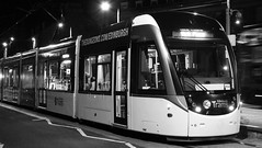 waiting for the last tram 02 (byronv2) Tags: edinburgh edimbourg scotland blackandwhite monochrome blackwhite bw westend tram transport publictransport night nuit nacht edinburghbynight rails tramstop platform newtown