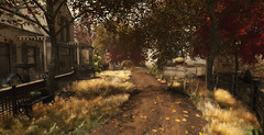 Road to Autumn... (kellytopaz) Tags: autumn cottage wagon owl fall leaves bench swing