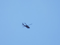 Helicopter In Flight. (dccradio) Tags: lumberton nc northcarolina robesoncounty outside outdoor outdoors sky bluesky helicopter chopper flight aviation transportation flying overhead military militaryhelicopter militaryaircraft wednesday morning goodmorning september earlyfall earlyautumn latesummer action motion fly nikon coolpix l340 bridgecamera