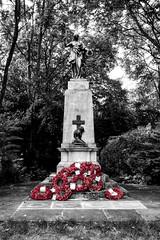 War Memorial, Bishop's Park, Fulham (London Less Travelled) Tags: uk unitedkingdom england britain london city urban church park bishopspark fulham memorial war wreath poppy statue bw monochrome