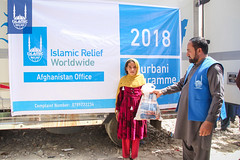 Qurbani meat being distributed in Afghanistan by Islamic Relief in 2018.