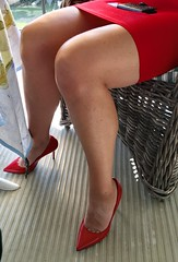 MyLeggyLady (MyLeggyLady) Tags: upskirt sex hotwife milf sexy secretary teasing thighs minidress cleavage cfm pumps stiletto red legs heels