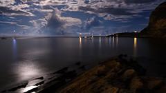 Marasolo - Favignana - Italy (I. Bellomo) Tags: light boat sail mediterraneo italy favignana egadi sea mare landscape night sun moon fujifilm
