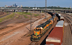 """Westbound Transfer in Kansas City, KS (""""Righteous"""" Grant G.) Tags: bnsf railway railroad locomotive up union pacific engine power train trains west westbound transfer yard job kansas city missouri freight emd ge"""