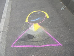 181 (en-ri) Tags: bambina little girl rosa giallo torino wall muro graffiti writing gessetti