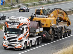JST Services (Ayr Scotland)   Scania R730 With A Liebherr 944 On Low Loader. (Gary Chatterton 4 million Views) Tags: jstservices liebherr 944tunnelexcavator scaniatrucks scaniar730 ayrscotland lowloader motorway a1m truck trucking wagon lorry transport hgv heavygoodsvehicle flickr explore photography canonpowershot