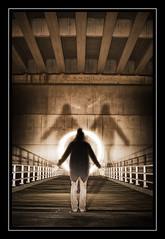 Orbed (Fotogravirus) Tags: orb orbed conceptualart bridge light ledfloodlight art postapocalypse apocalypse fotogravirus nightphotographyledfloodlightfloodlight figure silhout dark creepy eerie darkness alone postapocalypticvan brienenoordbrug rotterdam