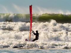 Windsurfing at Newgale. (hemlockwood1) Tags: windsurfer newgale sea surf waves pembrokeshire coast wales sport sail board