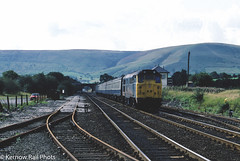 31305 at Edale (Kernow Rail Phots) Tags: class31 31305 edale dales passenger train trains railways railway railroad mk1 mk2 coaches tracks scenery scenic br britishrail bluegrey 1145 liverpool lime street sheffield wednesday 16th september 1987 trees hills sunny
