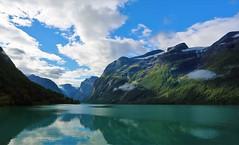 Loen, Norway (Steve Major) Tags: landscape sky mountain water lake tree houses fjord scenic norway loen stevemajor norwegian norwegianlandscape canon5dmkiii panorama