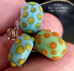 Oldies but Goodies Mini Donuts (Laura Blanck Openstudio) Tags: openstudio openstudiobeads glass handmade lampwork murano beads set made usa fine arts jewelry art artist artisan whimsical funky odd colorful multicolor abstract asymmetric earthy organic bohemian boho matte opaque frosted gypsy etched glow glowing nuggets dots copper green aqua turquoise blue yellow ocher orange coral tumbled mini tiny charms