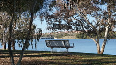 Bench with view of dam and Lake Ginninderra (spelio) Tags: act canberra australia