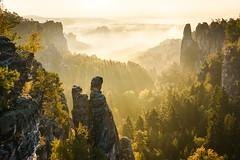 HD background - (10-mb) (Linnes Sandy) Tags: basteigebiet deutschland elbsandstein herbst landscape landschaft nebel outdoor rathen sachsen sonnenaufgang sächsischeschweiz