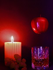 Closing the night with something Red (WorcesterBarry) Tags: candid colour display candles fruit drink england style darkness closeup