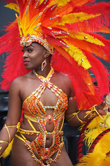 DSC_8293 Notting Hill Caribbean Carnival London Exotic Colourful Orange and Yellow Costume with Ostrich Feather Headdress Girls Dancing Showgirl Performers Aug 27 2018 Stunning Ladies (photographer695) Tags: notting hill caribbean carnival london exotic colourful costume girls dancing showgirl performers aug 27 2018 stunning ladies orange yellow with ostrich feather headdress