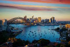Panorama of Sydney harbour and bridge in Sydney city (anekphoto) Tags: sydney harbour bridge australia city panorama night cbd skyline landmark harbor sunset panoramic water opera cityscape new wales dusk lights architecture building reflection tourist landscape nsw house south modern light holiday blue kirribilli bay urban evening downtown twilight summer sky travel sea tower colour famous view morning blurred destinations day