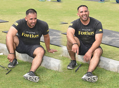 Fortius Recovers (Chris Hunkeler) Tags: manmalealthlete fortius fortiussouth weightlifter jumprope hunk stud muscular macho tired resting smiling