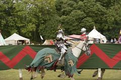 KNIGHT in ARMOUR, MEDIEVAL JOUST, BOLSOVER CASTLE_DSC_1540 (Roger Perriss) Tags: bolsovercastle horses joust d750 armour horse tilt lance tents grass castle