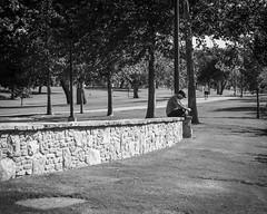jammin' (fallsroad) Tags: tulsaoklahoma riversidepark arkansasriver blackandwhite bw monochrome person people street man wall