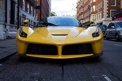 I was on a day trip in London on the 10th November 2017 and I saw on instagram that there was a Ferrari LaFerrari around the corner from where I was in Berkeley square. I've never seen a LaFerrari in Giallo Modena but it looks so good. (dkdylan96) Tags: ferrarilaferrari laferrari ferrari giallomodena southaudleystreet mayfair
