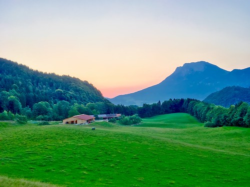 Dawn over Kaiser mountains seen from Breitenau near Kiefersfelden, Bavaria, Germany